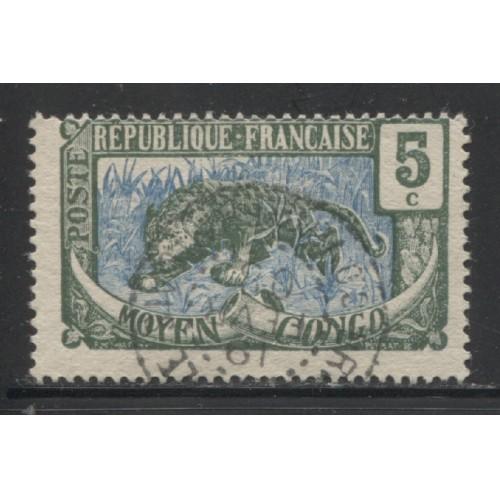 1907  Middle Congo  5 c. Leopard  used,  Scott # 4