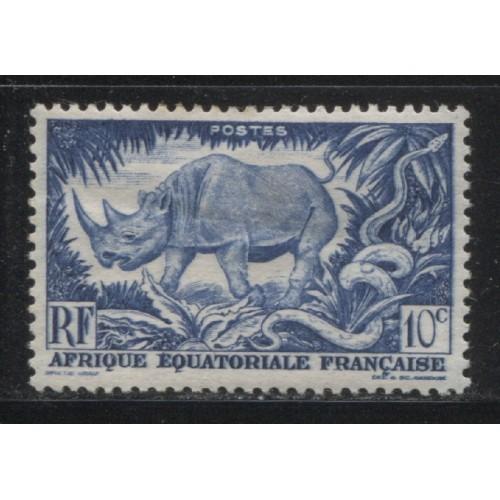 1946  FRENCH EQUATORIAL AFRICA  10 c. Black Rhinoceros mint*, Scott # 166