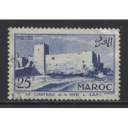 1955  French Morocco  25 Fr. Fortress, Safi  used, Scott # 323