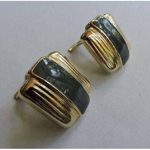 Vintage Ernst Gideon Bek Green Enamel Gold Tone Clip On Earrings Signed