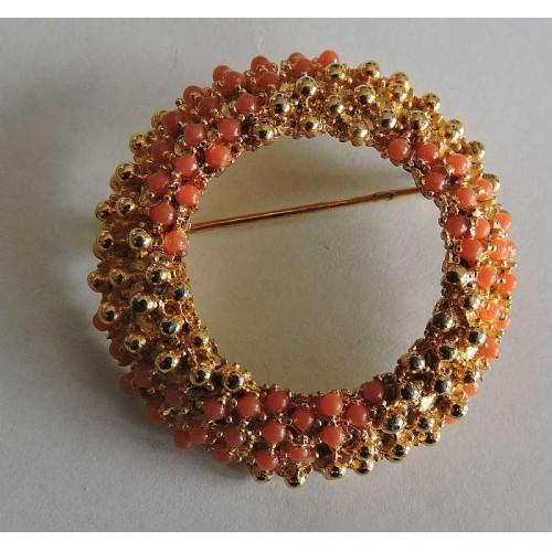 Vintage Acrylic Orange Beaded Gold Tone Beaded Gold Tone Wreath Pin Brooch