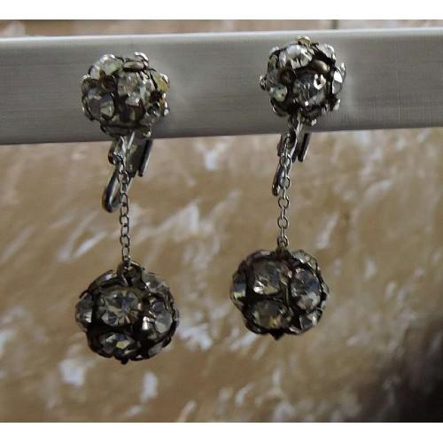 Vintage  Glamorous Double White Rhinestone Drop Dangle Clip On Earrings