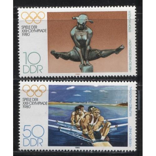 1980  DDR  Summer Olympics, Moscow complete set  mint**, Scott # 2098-2099