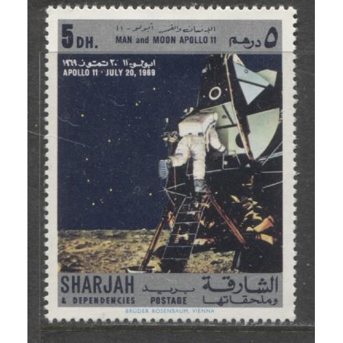 1969 SHARJAH  5 Dh.  Moon Landing Apollo 11  mint*, Michel # 549