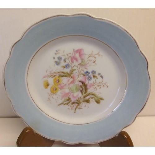 Salad plate- Scalloped Blue rim, Floral center
