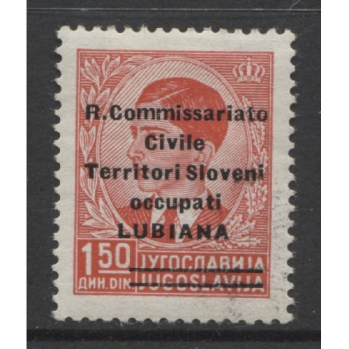 1941  YUGOSLAVIA  1.50 d.  King Peter  II  Italian occupation mint* error