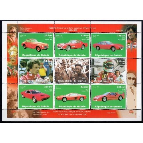 Guinea (1998) Historic cars Ferrari, Scott missing it. MNH