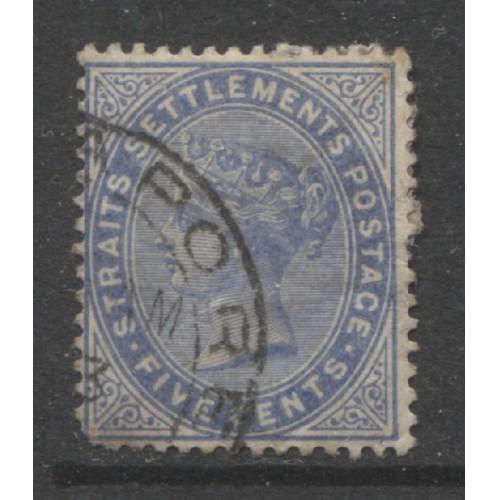 1883  STRAITS SETTLEMENTS  5 c.  Queen Victoria   used,  Scott # 45