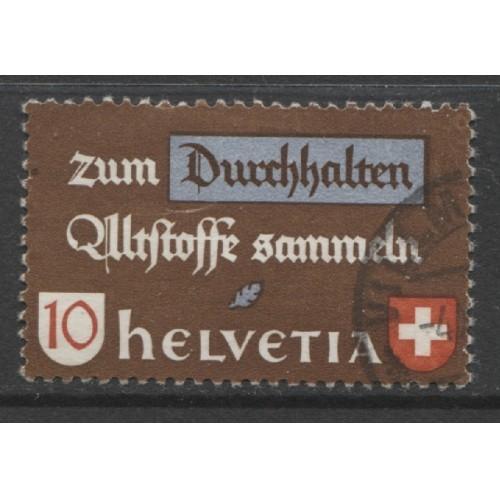 1942  SWITZERLAND   10 c.  In Order to Endure  used, Scott # 282