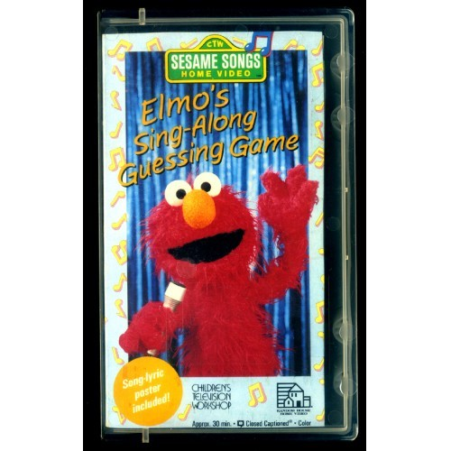 "Sesame Songs VHS ""ELMO'S SING-ALONG GUESSING GAME"" with Song Lyric Poster-1991"