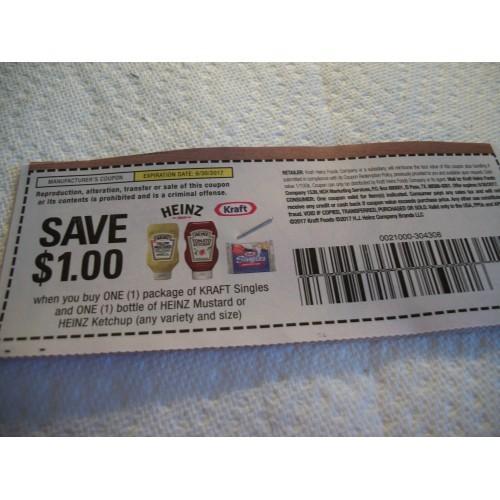Coupons 20- Save $! WYB Kraft Singles + Heinz Mustard or Ketchup Coupons 6/30/17