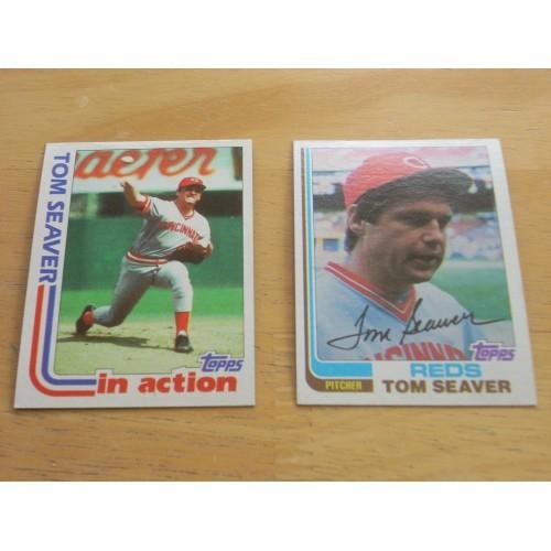 Both 1982 Tom Seaver Baseball Cards 30 & 31 High Grade Reds