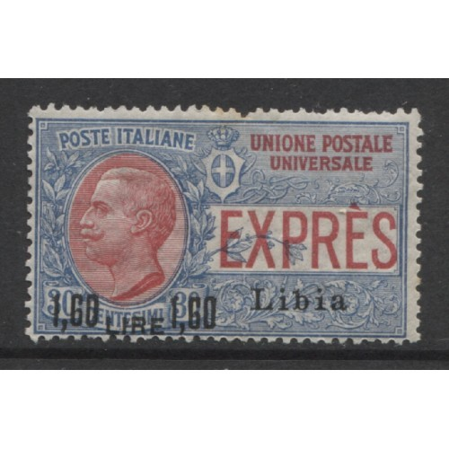 1922 Italian colonies LIBYA  1.60 L. on 30 c. Special Delivery mint*, Scott # E8
