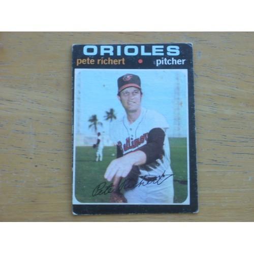1971 Baseball Card 273 Pete Richert Orioles Low Mid Grade
