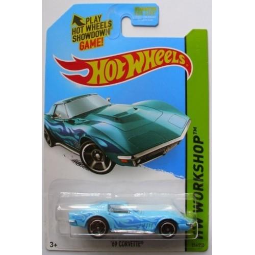 2014 Hot Wheels HW Workshop 69 Corvette Kmart Color Light Blue MC5s