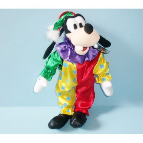 Disney Plush Goofy the Dog In Clown Costume 14 Inches By Toy Factory With Tags