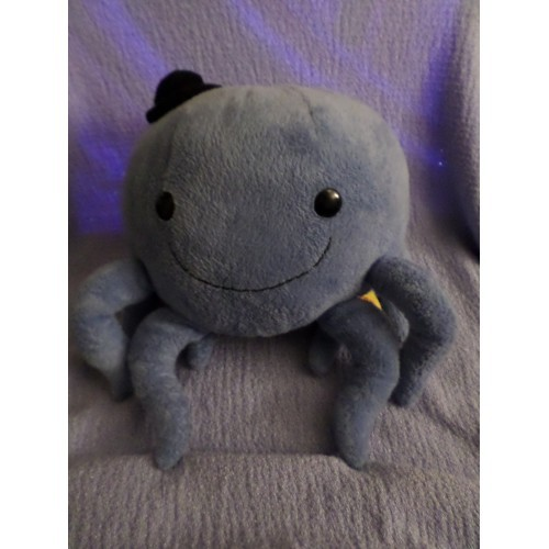 Oswald the Octopus plush Blue withlegs wear a black little hat Gund 2002