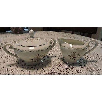 Vintage Romance Diamond China Rose Pattern Silver Trim Porcelain Sugar & Creamer