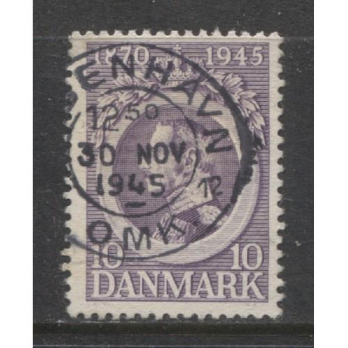 1945 Denmark  10 o. 75th Birthday King Christian X  used, Scott # 294