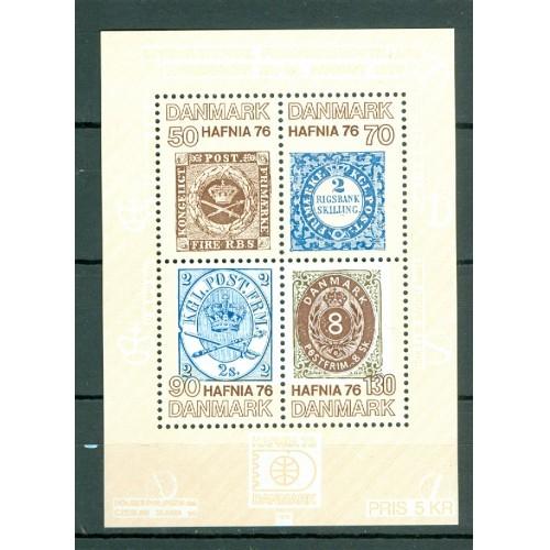 """Denmark. Souvenir Sheet 1976 Mnh. """"Hafnia 76"""". """" Four Stamps"""". Engraver: Slania"""