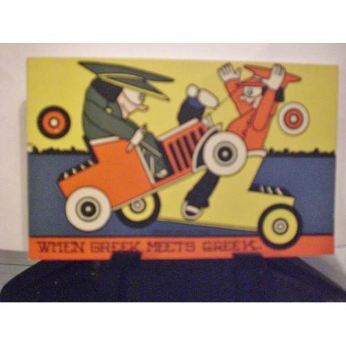 VINTAGE POSTCARD: #60.. C.J. ROSE ART 1908 - AUTOMOBILE HUMOR