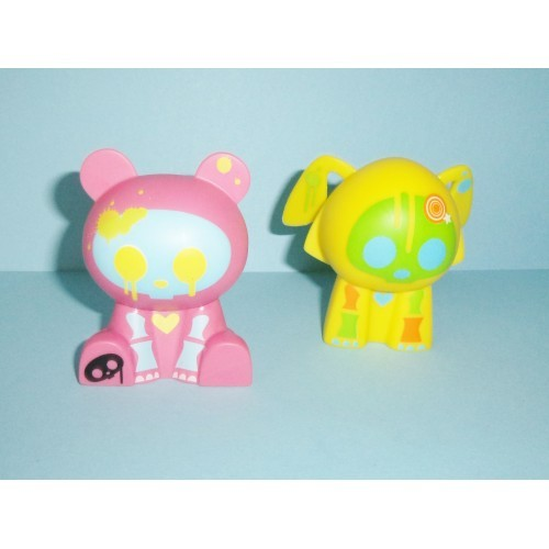 Skelanimals Vinyl Figures Dax Dog And Chungkee Panda 2009 By Jakks 2.5 Inches