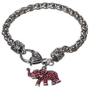 Red Rhinestone Elephant Bracelet
