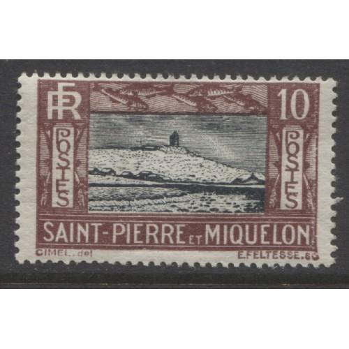 1932  ST. PIERRE & MIQUELON   10 c. Lighthouse  mint*,  Scott # 140