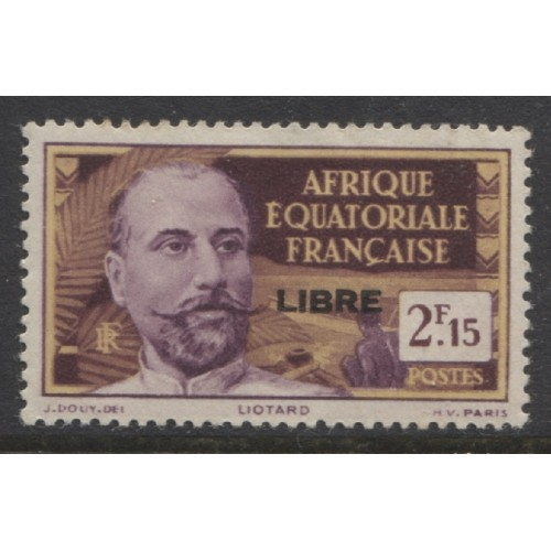 1940  French Equatorial Africa  2.15 Fr. issue with op LIBRE  mint*, Scott # 114