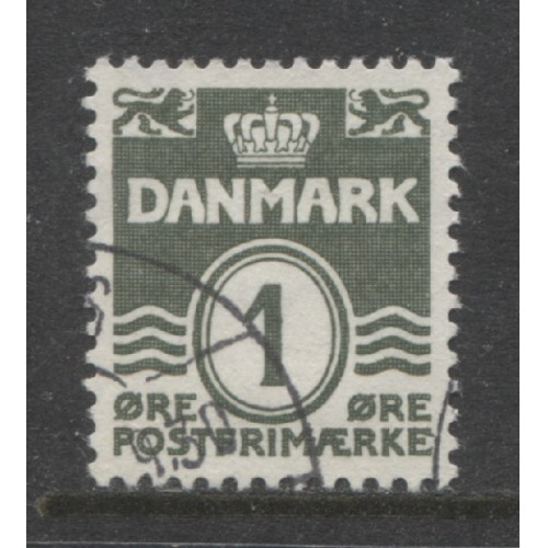 1933  Denmark  1 o. numeral  issue  used, Scott # 220