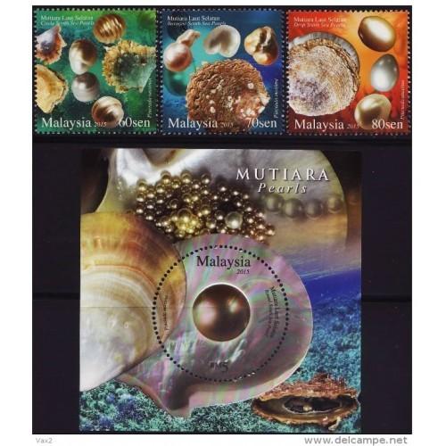Malaysia 2015 S#1558-1561 Pearl set+M/S MNH mineral gem fauna marine oyster