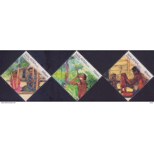 Malaysia 2010 S#1324-1326 Lifestyle of the Aboriginal People MNH music hunting