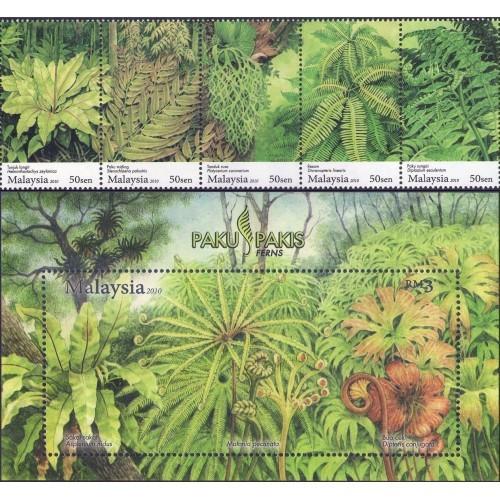Malaysia 2010 S#1284-1285 Ferns set+M/S MNH flora