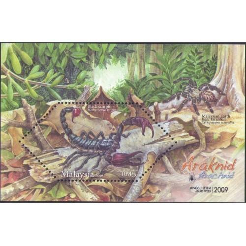 Malaysia 2009 S#1278 Arachnid M/S MNH fauna unusual (embossed) spider scorpion