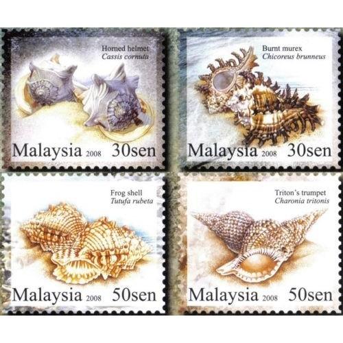 Malaysia 2008 S#1221-1224 Seashells MNH marine life fauna