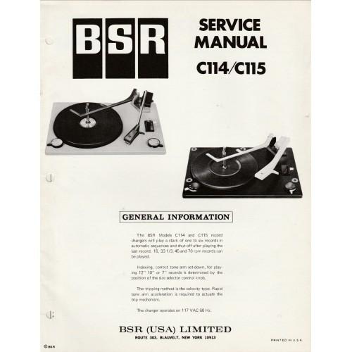 BSR Model C-114-C115 Turntable Service Manual