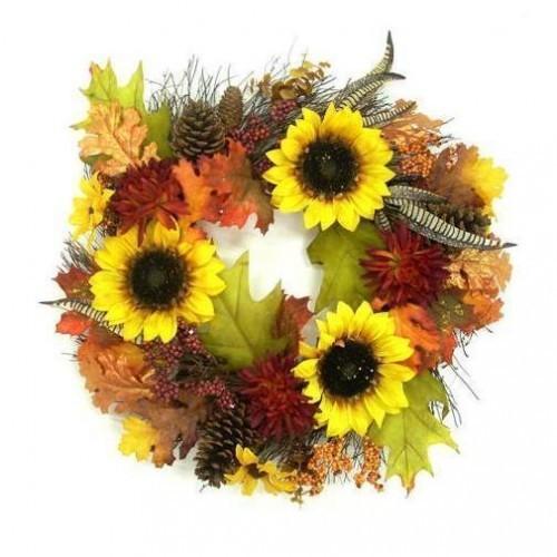 """24"""" Sunflower Mixed Harvest Wreath wall door thanksgiving fall autumn"""