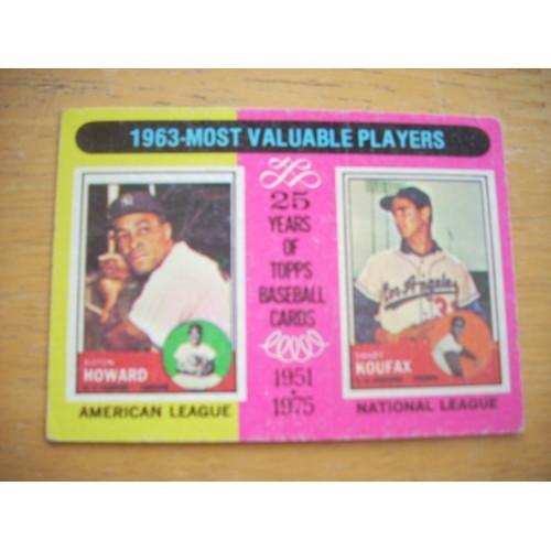 1975 Baseball Card 201 Sandy Koufax Dodgers Yankees Howard