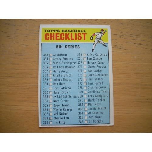1966 Baseball Card 363 5th Fifth Series Checklist Very Nice Shape