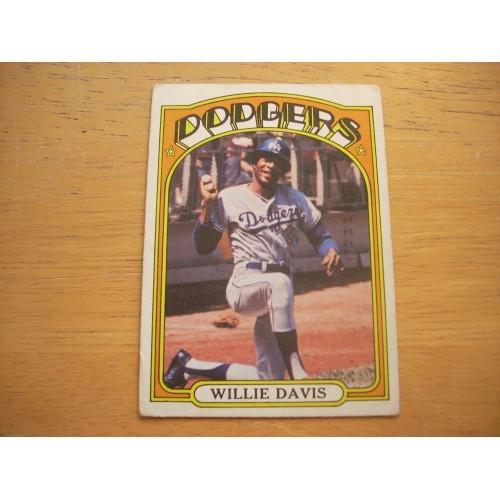 1972 Baseball Card 390 Willie Davis Dodgers Nice Shape