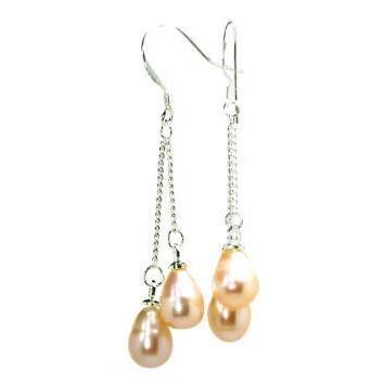 Genuine Pink Pearl Dangle Earrings with Silver Hooks