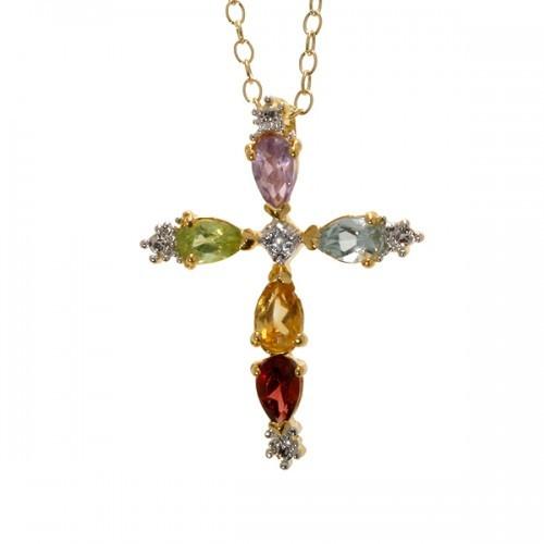 Multi Gemstone & Diamond Cross Pendant in 18k Gold on Sterli