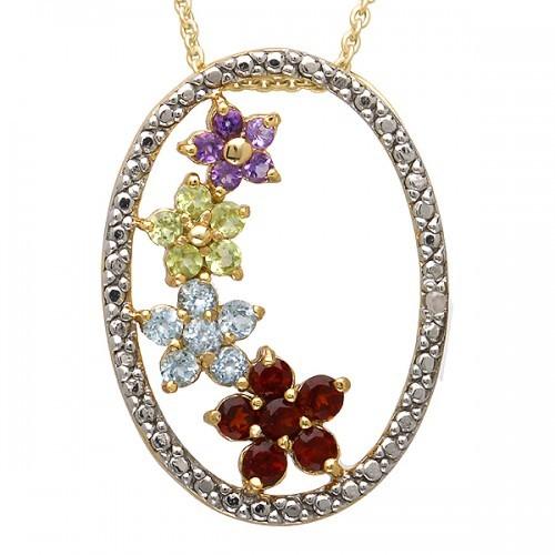 Four Gemstone Flower Pendant