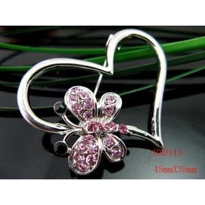Pink Butterfly on Heart Brooch of Swarovski Crystal