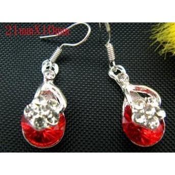 Red Zircon Swarovki Crystal Earrings