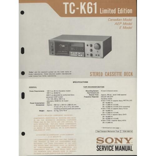 sony tc k61 limited edition cassette deck service manual service rh webstore com