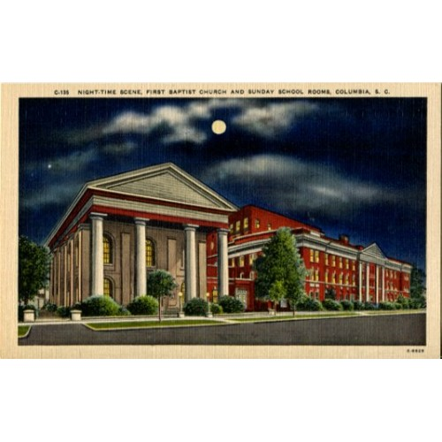 For Sale: Night-time Scene, First Baptist Church and Sunday School,  Columbia, S C  | Webstore