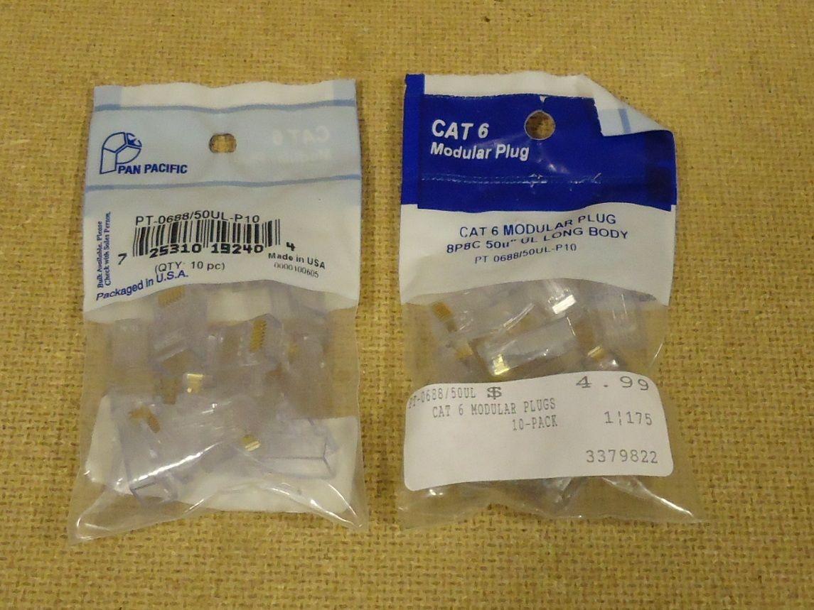 mm1766 101712-670f Pan Pacific CAT 6 Modular Plug Long Body 2 Packets of 10ct PT-0688/50UL-P10