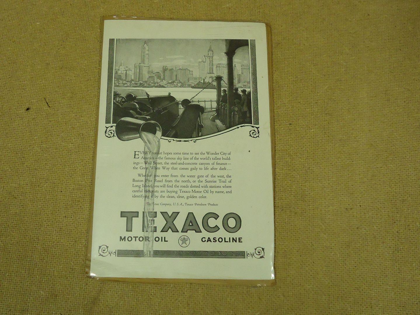 mm1766 101812-744u Texaco Vintage Laminated Ad 10in x 7in Black/White Oil Gasoline