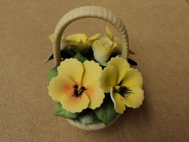 110912-146d Sadok Flower Basket 5in L x 4 1/4in D x 5in H Multi-Color Ceramic